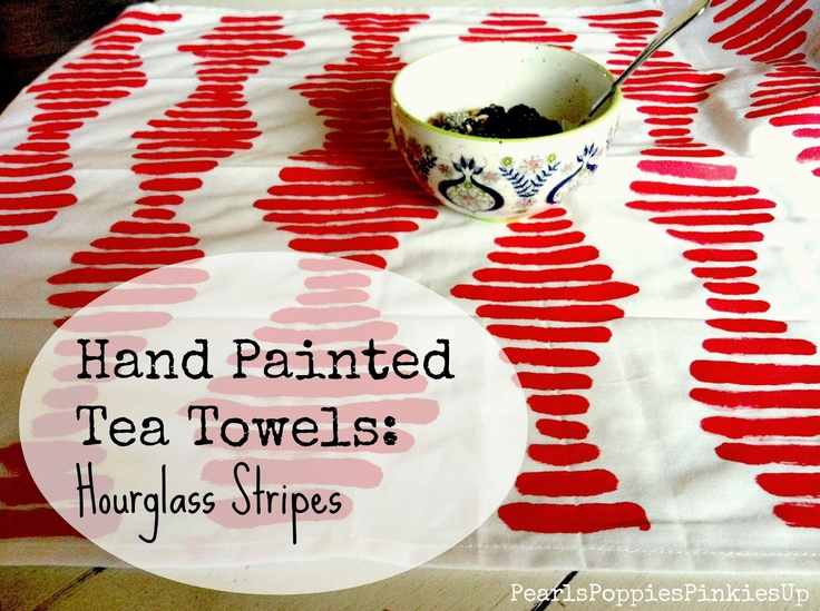 Hand Painted Tea Towels || Pearls Poppies Pinkies Up: Hands Paintings, Teas Towels, Maraschino Red, Tea Towels, Towels Maraschino, Paintings Teas, Poppies Pinkie, Crafty Idea, Pearls Poppies