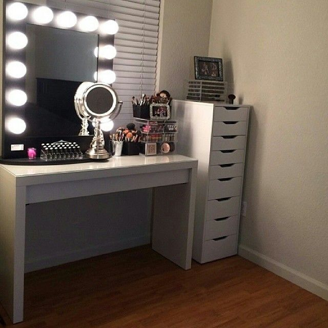 Makeup storage.g. More realistic for my massive collection. so good the drawers and table Ikea Black Broadway Table Top Mirror $399.00 www.VanityGirlHollywood.com