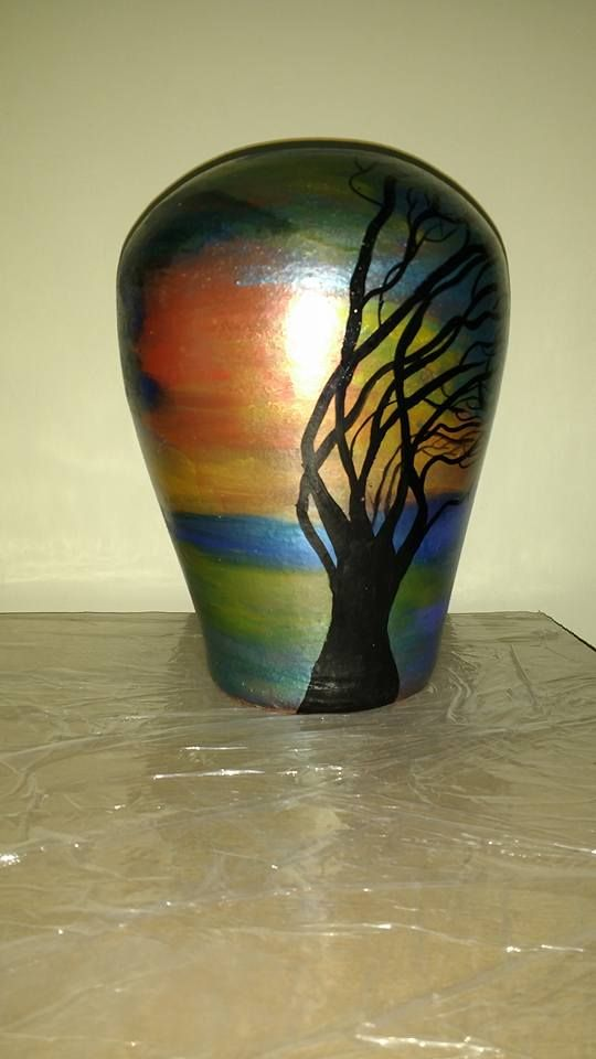 Unique Terracotta hand painted vases #art #potpainting