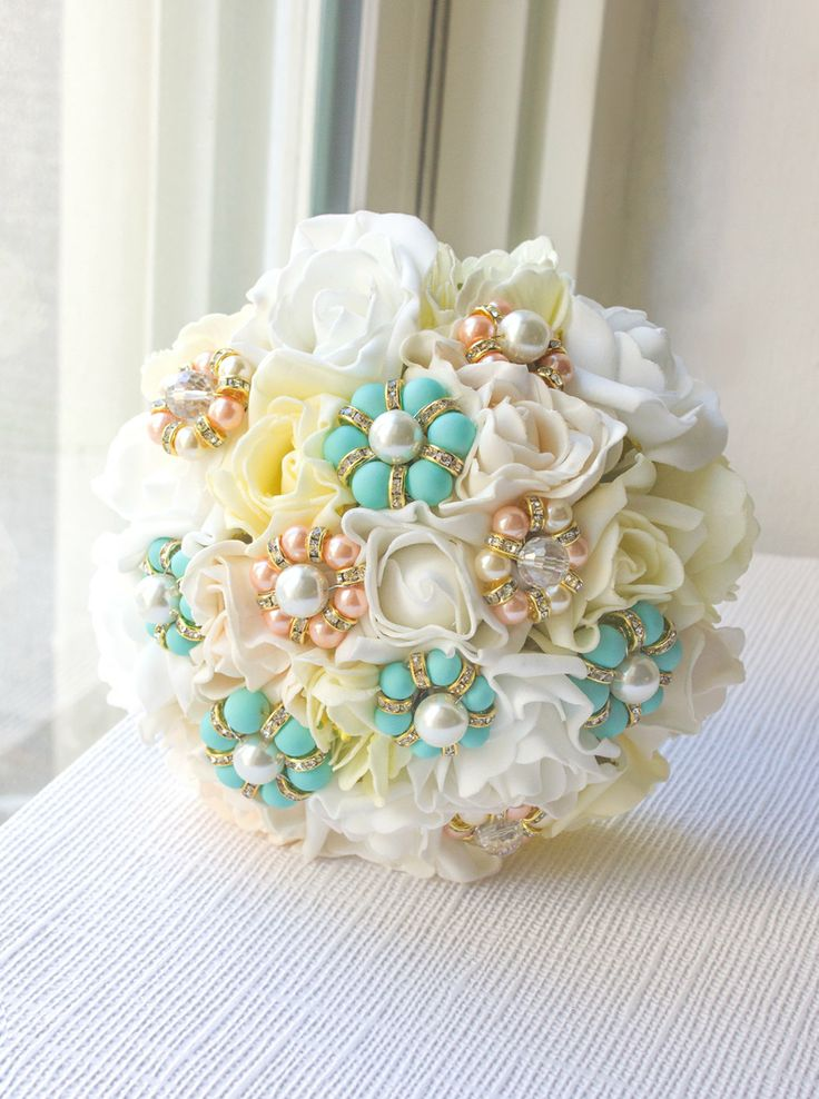 Mint & Coral Bridal Bouquet wedding bridesmaids by AOStyles, $84.00