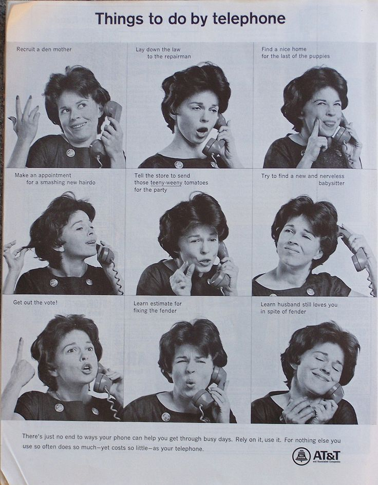 """Things to do by telephone"" – AT ad from 1966.  this woman has some of the best …"