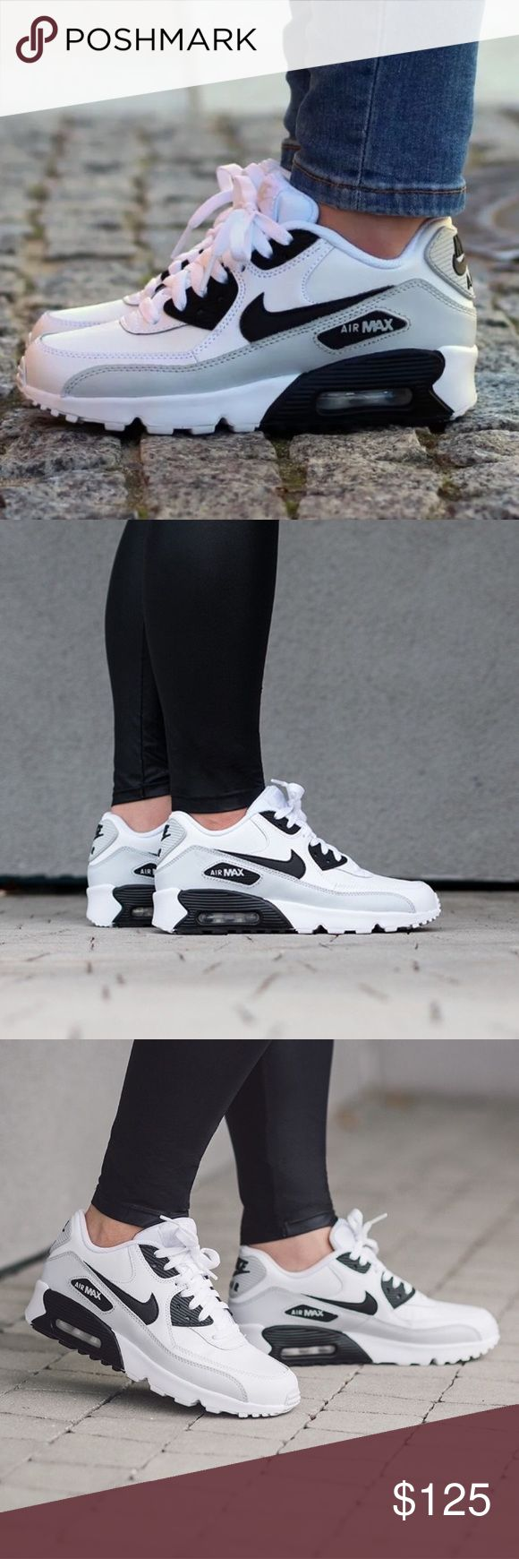 NIKE AIR MAX 90 LEATHER WOMENS SIZE 8 WHITE BLACK Brand new without box. Shoes are a size 6.5 youth which is a women's size 8. (Please look at sizing chart) Nike Shoes Sneakers