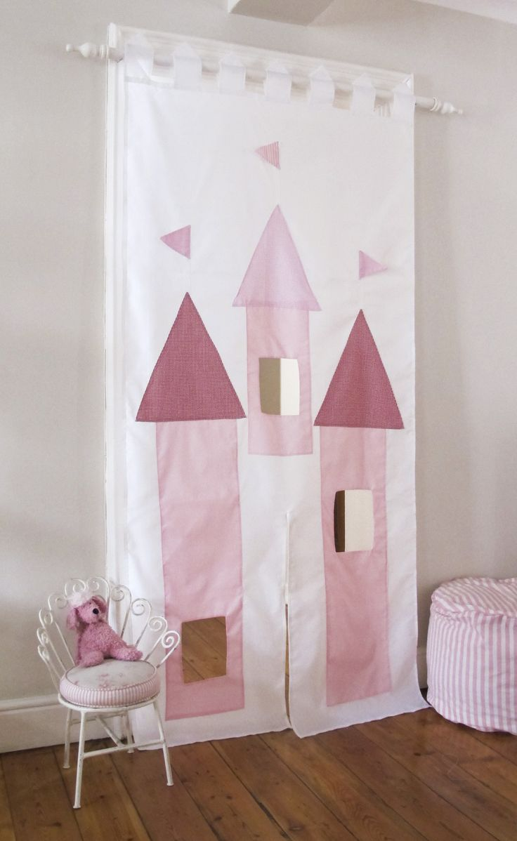 How clever and fun are these doorway hangings by kids decorator, Sam Scarborough of Kids Decor.Switch off the tv and have kids create their own fairy-tales. Doorway Castle Curtain drops R595 Doorway Puppet Theater R595 Tablecloth Playhouse R695