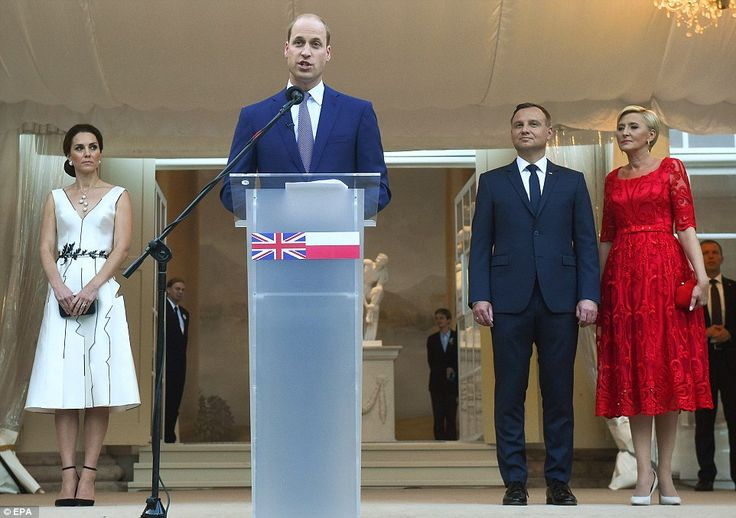 17 July 2017 - Royal tour to Poland and Germany (day 1): Warsaw, Queen's Birthday paty hosted by the British Ambassador - dress by Gosia Baczynska, shoes by Gianvito Rossi