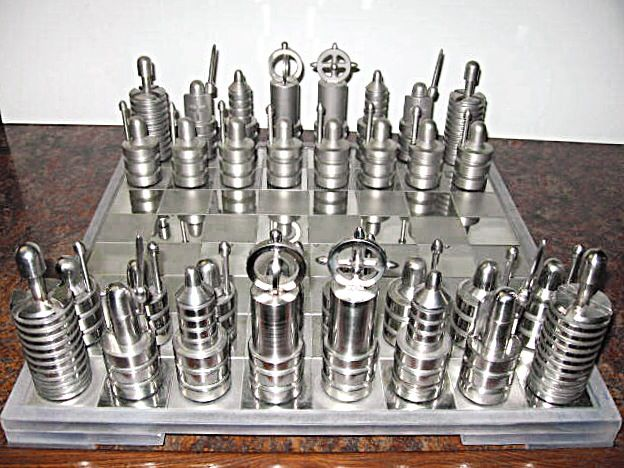 Steel Chess Set stainless chess set. | mid-century and cool chess sets | pinterest