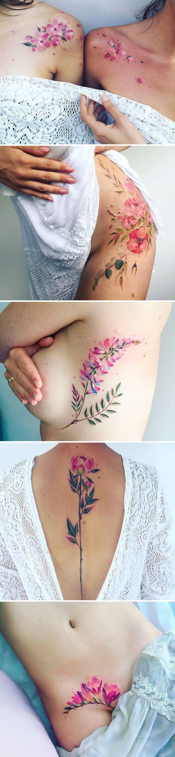 Pink flower tattoos. Positions nice.