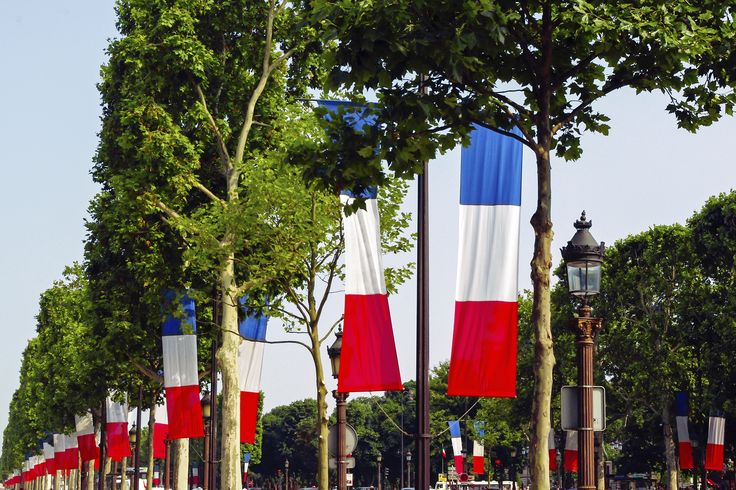 Tricolour Flag on the Champs-Elysées Avenue in Paris.