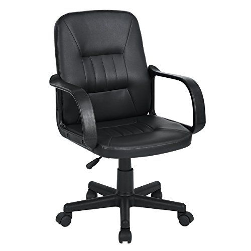 Aingoo Mid-Back Executive Office Task Chair PU Leather Swivel Adjustable Computer Desk Chair, Black