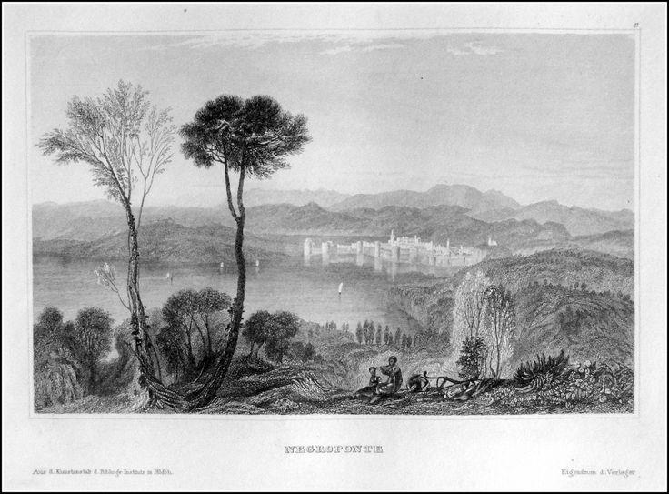 Greece - Negroponte . Graphic         : Steel engraving From             : Pittoreskt Universum eller Taflor Year              :  1838 Size               : 17 x 12 cm Distr.             : Bibliografiska Institutets Stockholm