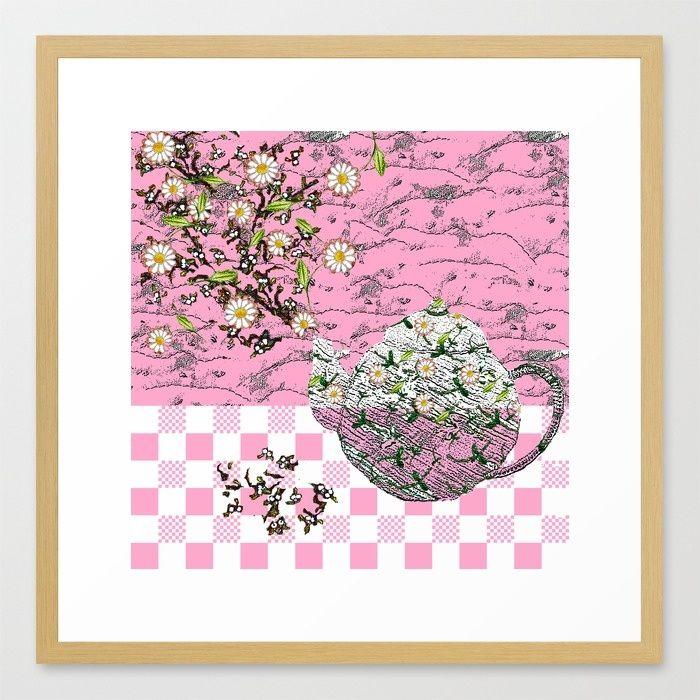 SUMMER TEA IN PINK Framed Art Print by Bozena Wojtaszek   Society6