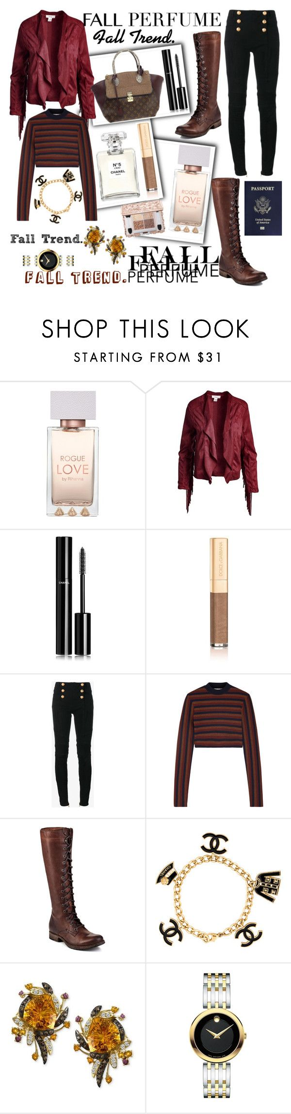 """""""Fall Perfume."""" by seanahr ❤ liked on Polyvore featuring Chanel, Sans Souci, Dolce&Gabbana, Balmain, Victoria Beckham, Frye, R.H. Macy's & Co., Movado and Louis Vuitton"""