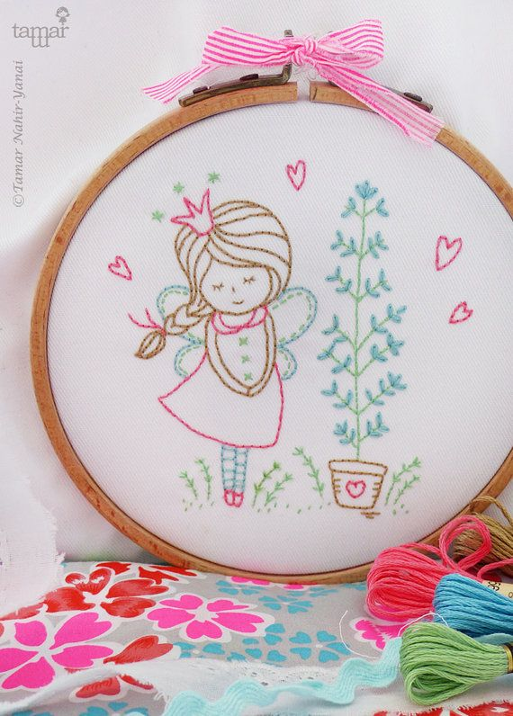 Princess embroidery Fairy art Fairy nursery by TamarNahirYanai                                                                                                                                                                                 Más