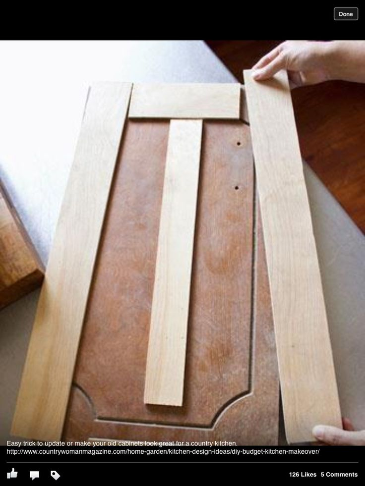 Diy Budget Kitchen Makeover Kitchen Design Ideas Gluing Thin Strips Of Plywood To The Cabinet Doors
