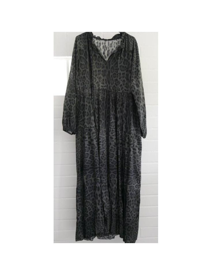 Damen Maxi Kleid A-Form anthrazit grau schwarz Leo Onesize ...