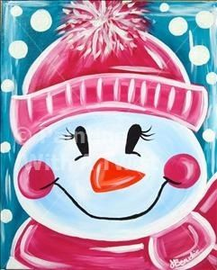 Cute Frosty the snowman canvas paint idea for wall decor. Canvas painting. Wall art. Merry Christmas. Winter. Pink, blue and white. Snowflakes. Personalize. Snowman. Scarf. Polka dots. Snow.