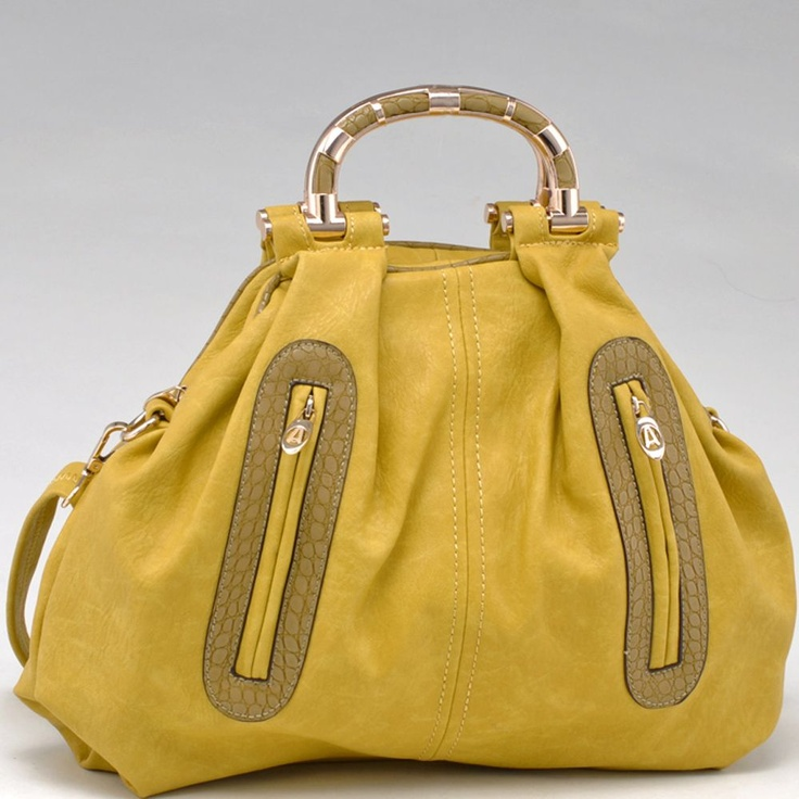 Fashion Satchel w/ Croco Trim and Gold Carrying Handles (Mustard)