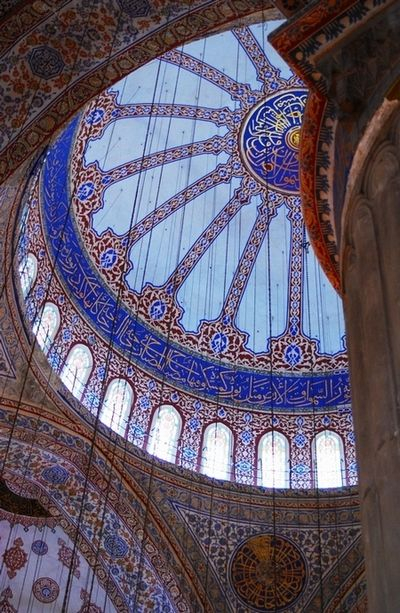 Inside the Blue Mosque Istanbul, Turkey. It doesn't matter your religion, this place is breathtaking.  #travel #turkey #bluemosque #istanbul