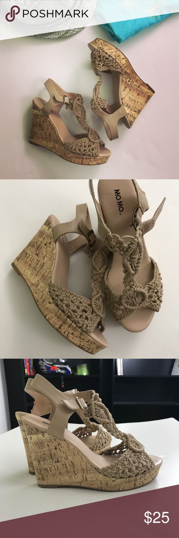 """Momo Cork-patterned wedge tan textile sandals Momo Cork-patterned wedge tan textile sandals are extremely comfortable and cute! Upper textile knit like material, Buckle closure, wedge heel 5"""", platform upfront about 1"""". Comfortable fit for wide feet thanks to material front of the sandal. Size 10. New, never worn, just no tags. 🌴for those of you who spending holidays in tropics or live in warmer parts of USA- great wedges to wear with dresses and skirts. Lily Pulitzer dress is on sale as…"""