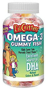 Lil Critters Omega-3 Gummy Fish With Dha-180 Fish by Lil Critters. $9.49. Excellent source of DHA, with 32 mg serving. Kids love the fun shapes and flavours, parents love the quality. Contains 3 NATURAL flavors, Cherryade, Lemonade, Strawberry Lemonade. Omega 3-s promote healthy brain function. Two Gummy Fish contain 120 MG of OMEGA -3 Fatty Acids- This product contains no artificial colors, flavors, preservatives. Wheat fee, ( gluten) milk, peanuts etc.. Save 47%!