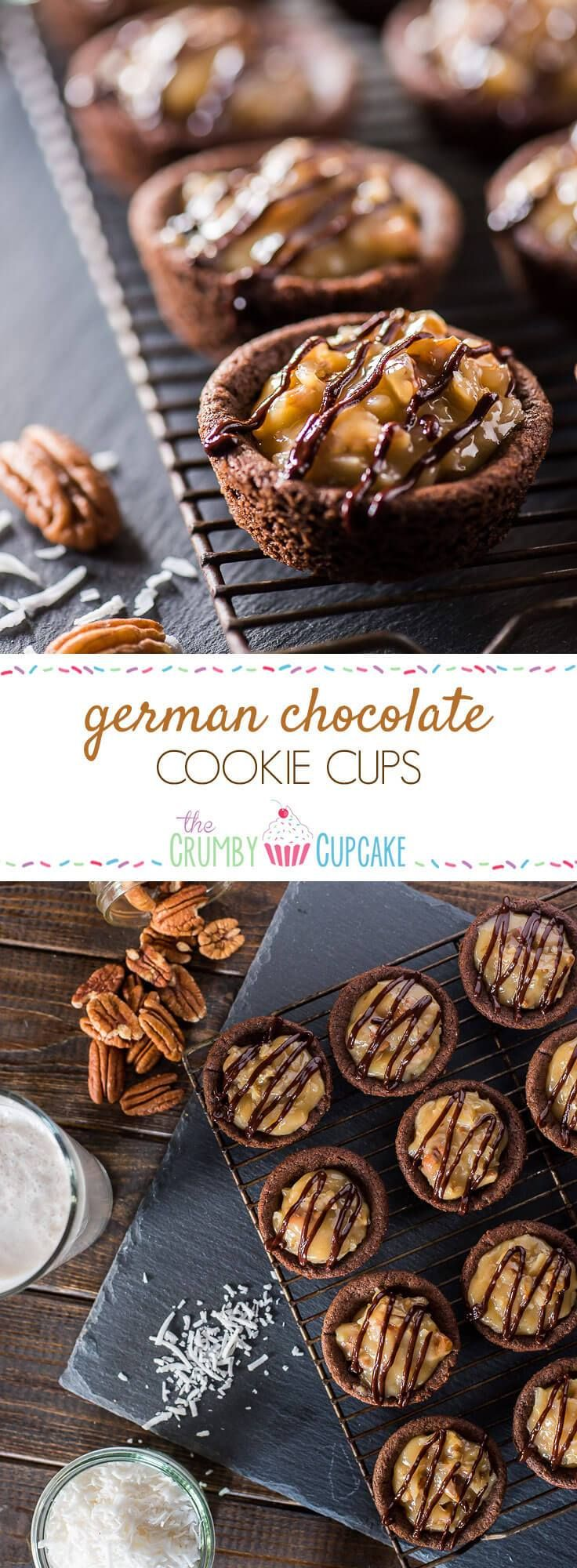 Cupcakes for cookie lovers! Ooey, gooey, and chewy, these German Chocolate Cookie Cups are the perfect treat to include in any holiday celebration!