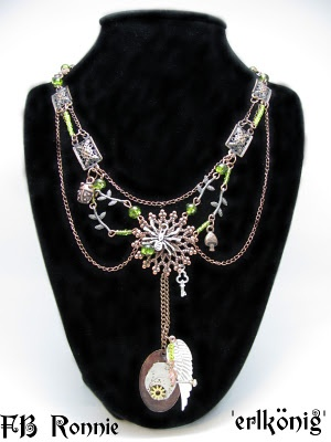 This is a multistrand steampunk necklace called ErlKing after the poem from Goethe.
