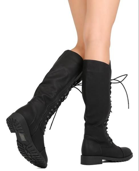 Black Vegan Leather Toe Cap Lace-Up Knee High Women's Riding Boots