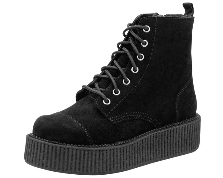 Black Suede Creeper Boots