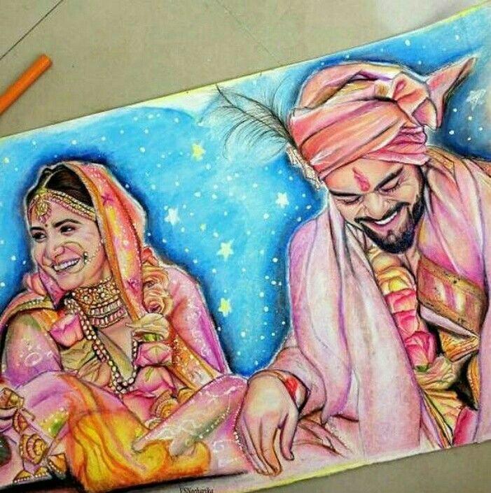 Love You Both Virat Kohli Anushka Indian Art
