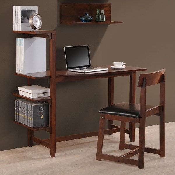 Nice Hamburg Contemporary tier Bookshelf Desk and Faux Leather Desk Chair Study Set