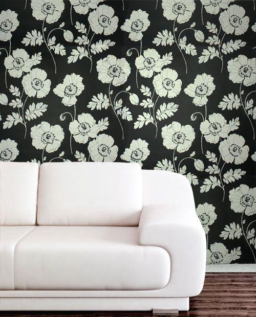 Poppycock Velvet Flocked Wallpaper in Ebony and White from the Plush C | BURKE DECOR