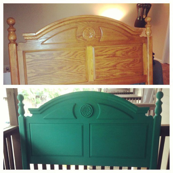Painted headboard. Annie Sloan chalk paint turquoise