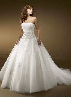 Ball-Gown Strapless Cathedral Train Tulle Wedding Dress With Ruffle Beading Appliques Lace Sequins