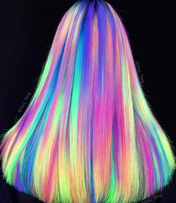 Glow-In-The-Dark Hair - Glowing Phoenix Neon Hair # Glowing # Hair . - Glow-In-The-Dark Hair – Glowing Phoenix Neon Hair - Neon Hair Color, Hair Dye Colors, Purple Hair, Ombre Hair, Rainbow Hair Colors, Ombre Color, Color Blue, New Hair Color Trends, Hair Trends