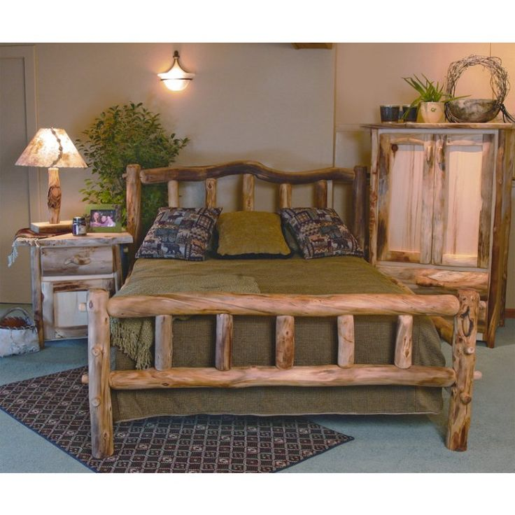 Rustic Aspen Snowload I Corral Style Log Bed by Mountain Woods