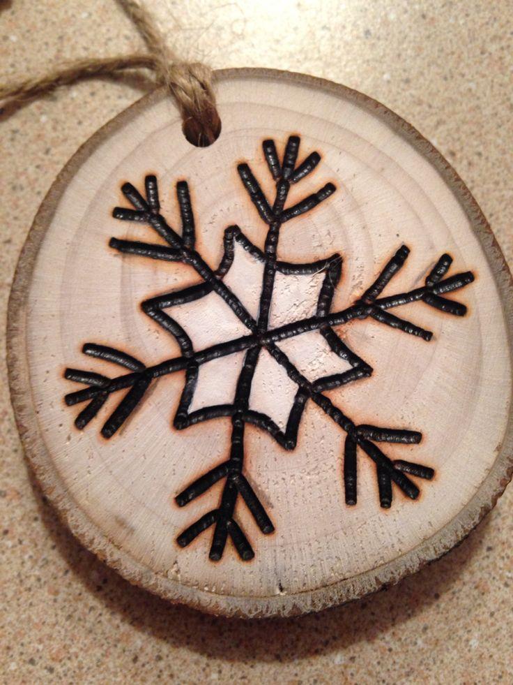 Rustic hand painted Snowflake wood burned Christmas ornament - natural wood