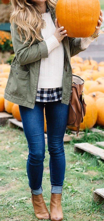 #fall #outfits women's white long-sleeved shirt, gray denim jacket, and blue denim jeans outfit