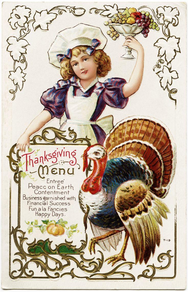 Old Design Shop ~ free digital image: vintage Thanksgiving Menu postcard