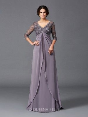 608a2f61aa305 A-Line/Princess V-neck 3/4 Sleeves Lace Floor-Length Chiffon Mother of the  Bride Dresses - Mother of the Bride Dresses 2018 - Mother of the Bride  Dresses ...
