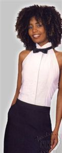 WOMENS Tuxedo Shirt WHITE WING Collar BACKLESS Tuxedo Shirt