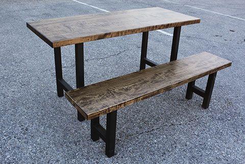 Custom Reclaimed Live Edge Barn Wood Steel Metal Flat Square X Bench + Furniture Kitchener Toronto Guelph Hamilton