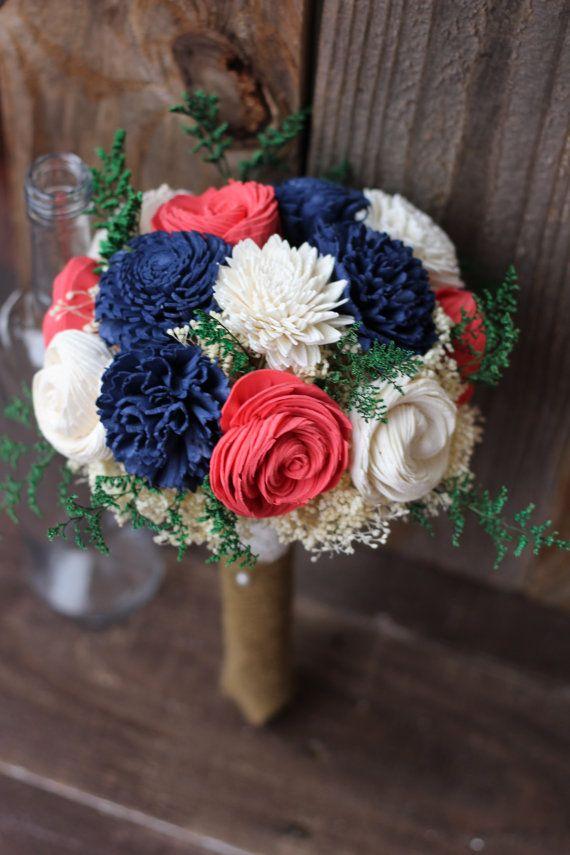 Sola bouquet, keepsake bouquet, wedding flowers, rustic wedding, deep navy deep…