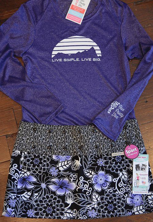 Pretty in Purple:  Size adjustable skirts make Holiday eating....no problem!  LOL #wegotyou  Shirt fits just right, you will love it not too tight, not too loose. https://sweetspotskirts.com/collections/classic-sweet-spot-skirts/products/zen-hip-hap-purple-athletic-skirt and https://sweetspotskirts.com/collections/run-pretty-far-tees/products/live-simple-live-big-long-sleeve-purple-tee fabtagsale.com