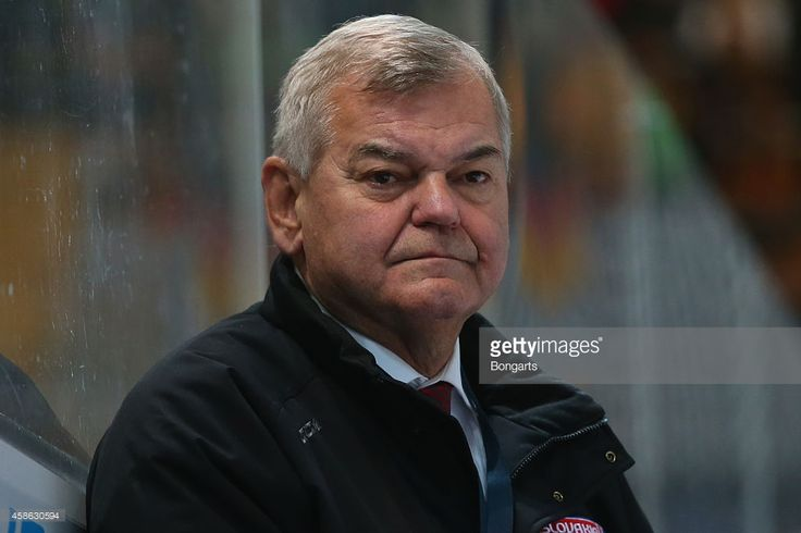Vladimir Vujtek, head coach of Slovakia looks on during match 3 of the Deutschland Cup 2014 between Germany and Slovakia at Olympia Eishalle on November 8, 2014 in Munich, Germany.