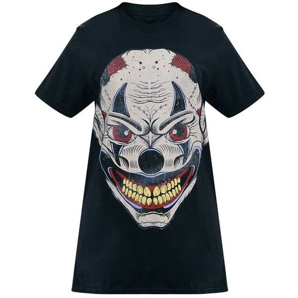 Black Ugly Clown Print T Shirt ($12) ❤ liked on Polyvore featuring tops, t-shirts, mixed print top, pattern tees, print top, print tees and patterned tops