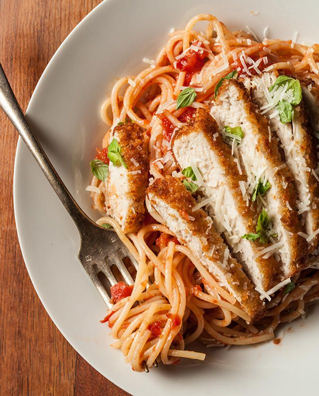 A classic spaghetti marinara recipe with breaded and pan-fried chicken breasts.