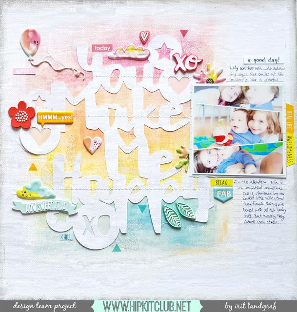 New Mixed Media Scrapbook Layout & Video Tutorial For Hip Kit Club