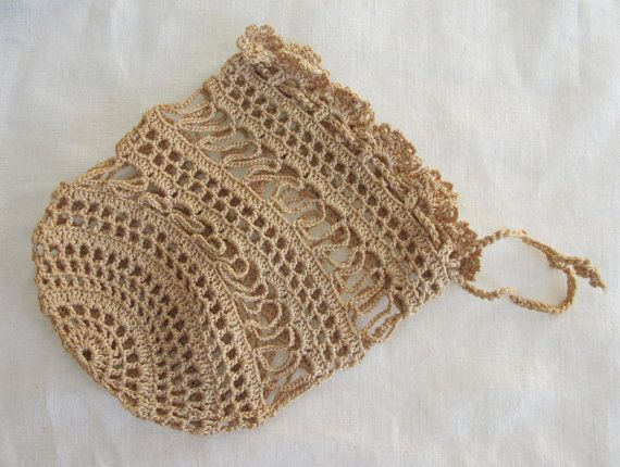 Crochet Work : Antique Edwardian cr?me Crochet travail tiroir cha?ne sac ? main ...