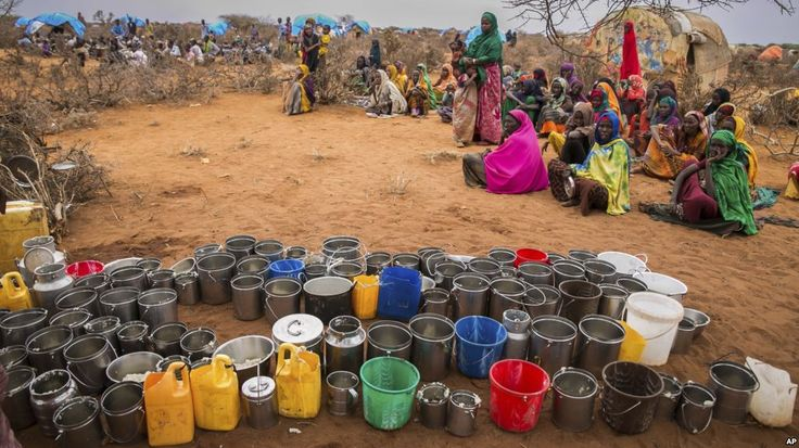 People wait for food and water in the Warder district in the Somali region of Ethiopia, Jan. 28, 2017.