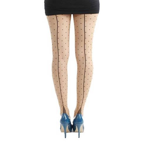 Jive seamed panty met polkadot stippen huidskleur/zwart