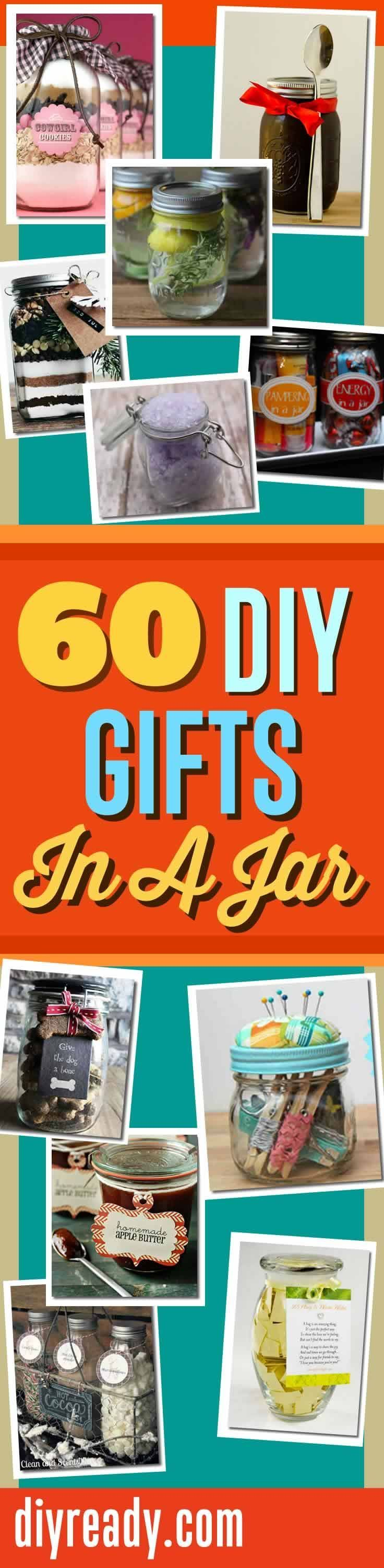 60 Easy Mason Jar Gift Ideas and other Cool Homemade DIY Gifts you put in a Jar. Quick, easy and cute favorites. DIY Projects and Crafts at DIY Ready http://diyready.com/60-cute-and-easy-diy-gifts-in-a-jar-christmas-gift-ideas/